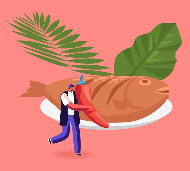 Comida tradicional indonésia de penyetan com peixes. homem com pimenta perto de delicioso dourado grelhado. ilustração de desenho animado