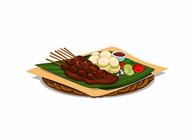 Comida tradicional satay da indonésia em desenho animado