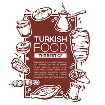 Comida turca, design de modelo linear para o seu menu