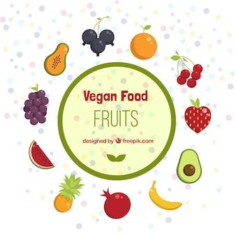Comida vegan e frutas