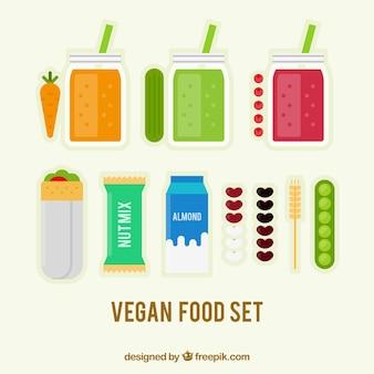 Comida vegan e sucos no design plano