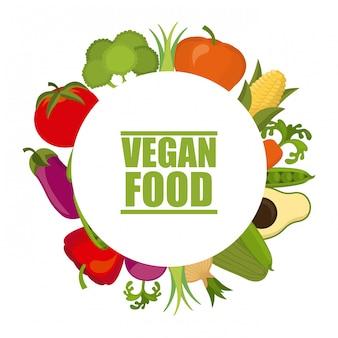 Comida vegan sobre ilustração vetorial de fundo branco