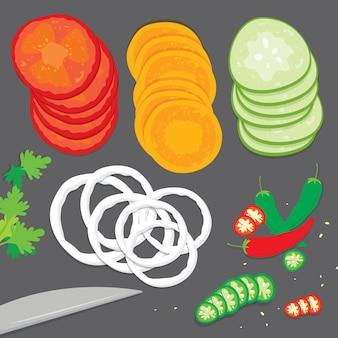 Comida vegetal cozinhar tomate cebola cenoura pimentão pepino salsa fresca peça fatia dos desenhos animados