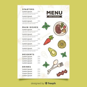 Comida vegetariana para o modelo de menu