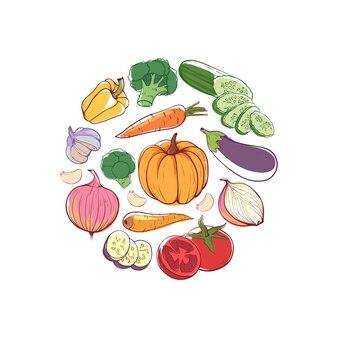 Comida vegetariana rodada conceito