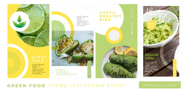 Comida verde prato saudável instagram story