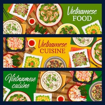 Comida vietnamita, banners de vetor de culinária do vietnã