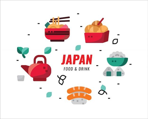 Comidas e bebidas japonesas. elementos de design plano. ilustração vetorial