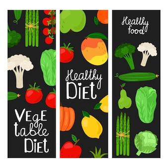 Comidas saudáveis. ilustração de frutas e legumes