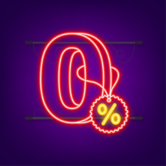 Comissão zero. elemento de design. oferta limitada vermelha. ícone de néon. emblema de oferta especial. ilustração em vetor das ações.