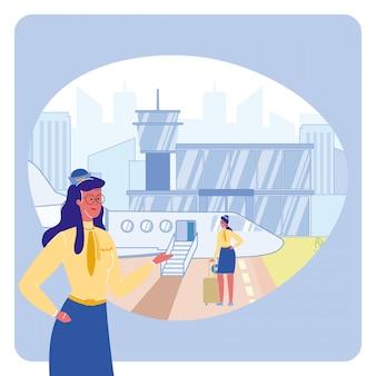 Comissária de bordo na ilustração do vetor do aeroporto