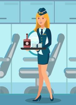 Comissário de bordo em avião plano