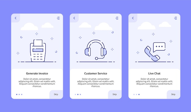 Commerce onboarding gerar fatura de atendimento ao cliente chat ao vivo para modelo de banner de aplicativo móvel