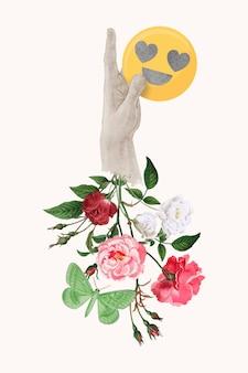 Como a reação na mídia social, ilustração de flor de mídia mista
