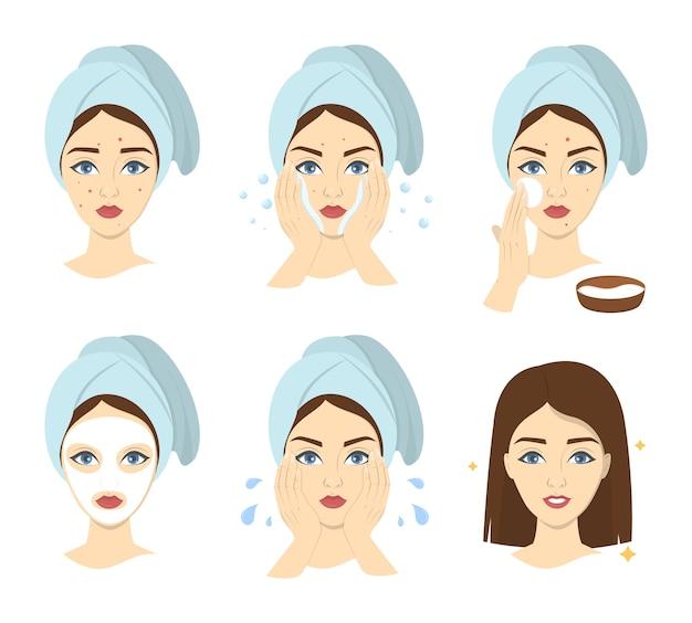 Como aplicar instrumentos de máscara facial para mulheres. guia passo a passo para o uso de máscara de creme facial. cuidados com a pele e tratamento da acne. ilustração vetorial isolada