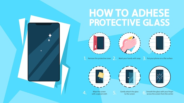 Como colocar um protetor de tela de vidro Vetor Premium
