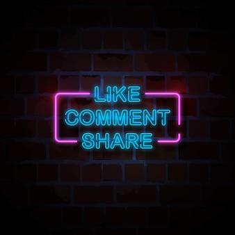 Como comentário compartilhar néon estilo sinal ilustração