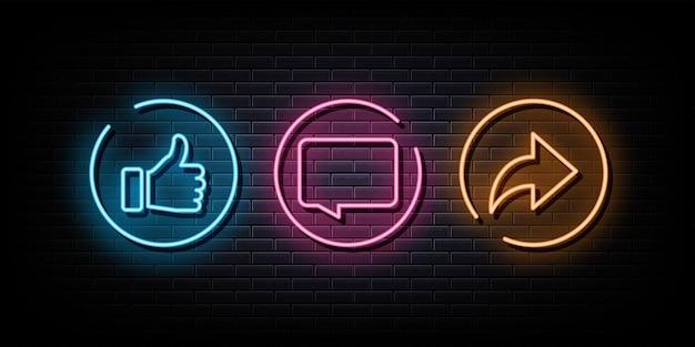 Como comentário compartilhar sinal de néon símbolo de néon