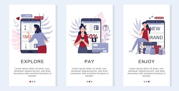 Como comprar instruções online de mercadorias. infográficos para compras online. banner de aplicativo móvel de comércio eletrônico. anúncio de aplicativo de marketing móvel e banner de mídia social. ilustração