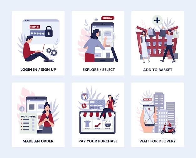 Como comprar instruções online de mercadorias. infográficos para compras online. banner de aplicativo móvel de comércio eletrônico. anúncio de aplicativo de marketing móvel e infográficos. conjunto de ilustração