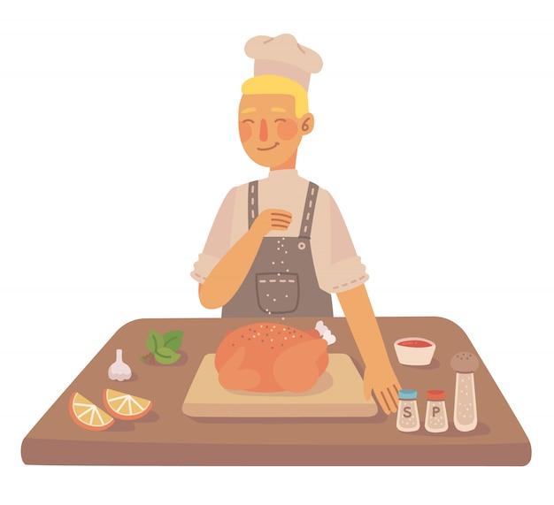 Como cozinhar um frango tradicional saboroso, com utensílios de cozinha, ingredientes. ilustração em estilo simples