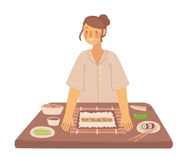 Como cozinhar um saboroso tradicional sushi e maki com utensílios de cozinha, ingredientes.