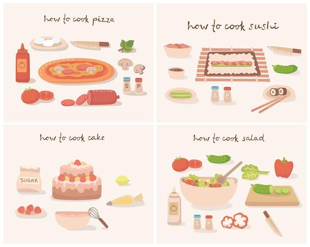 Como cozinhar uma saborosa legumes tradicionais pizza, bolo, sushi e salada com utensílios de cozinha, ingredientes.