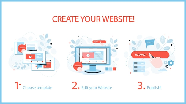 Como criar instruções para um site. conceito de banner web