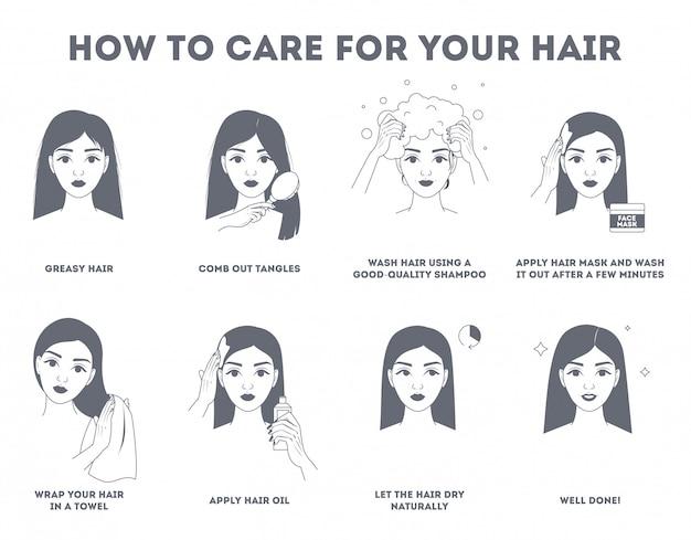 Como cuidar da sua instrução para o cabelo.