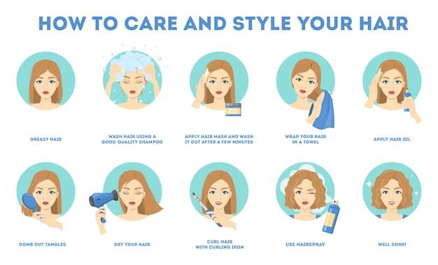 Como cuidar do seu cabelo e modelá-lo com instruções.