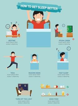 Como dormir melhor ilustração infográfico