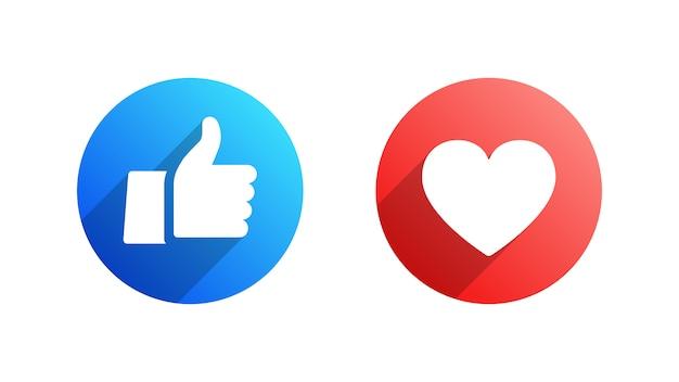 Como e coração conjunto de ícones plana do facebook