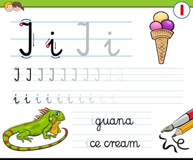 Como escrever a folha de cálculo da letra i para crianças