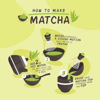 Como fazer instruções para o chá matcha