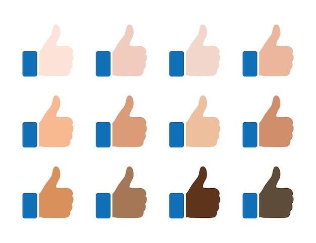 Como ícones, polegar para cima, conjunto de símbolos de cor de pele de raça de nacionalidade diferente