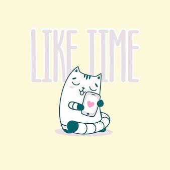 Como letras de tempo com gato engraçado