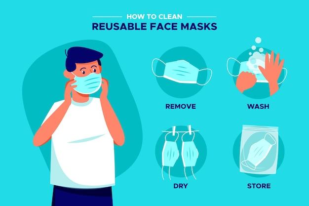 Como limpar máscara facial reutilizável