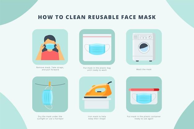 Como limpar máscaras reutilizáveis - infográfico