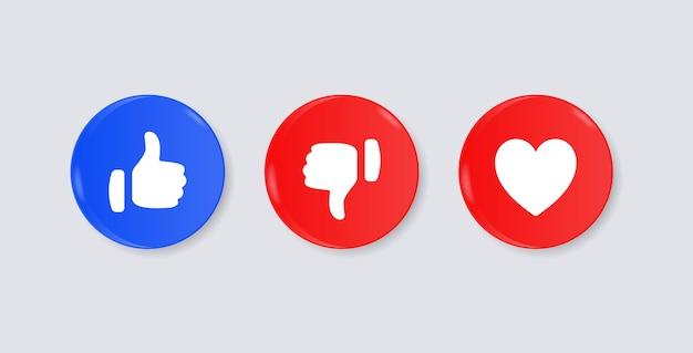 Como não gostar de botões de amor ou polegar para baixo nos ícones de notificação de mídia social do círculo 3d moderno