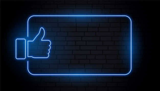 Como o polegar no estilo neon azul com espaço de texto