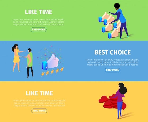 Como o tempo e o melhor conjunto de banner horizontal de escolha