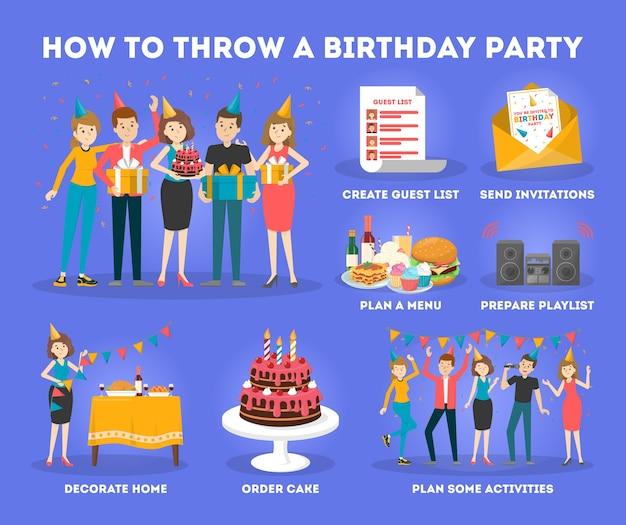 Como organizar festa de aniversário. pessoas felizes