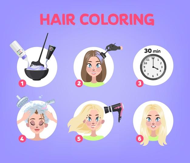 Como pintar o cabelo em casa guia. instruções passo a passo para o processo de coloração do cabelo. procedimento de beleza. aplique o creme de cor no cabelo com uma escova. ilustração