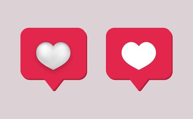 Como rede social. quadro vermelho 3d com comunicação online moderna de coração branco em aplicativos e comunidades da web aprovação de comentários de usuários e concordância com o ponto de vista.