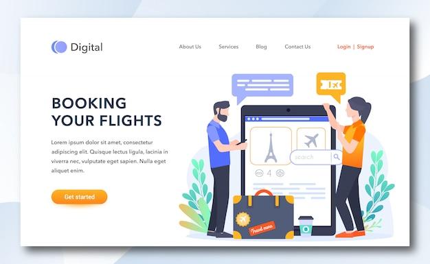 Como reservar seu modelo de página de destino de voos