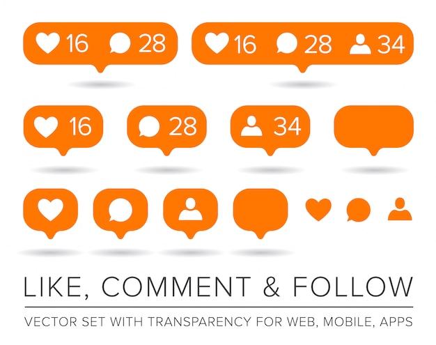 Como, seguidor, conjunto de ícones de comentários