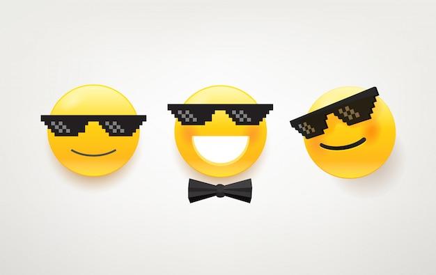 Como um pacote de ícones de chefe. personagem bonita com óculos de sol