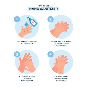 Como usar a ilustração do desinfetante para as mãos