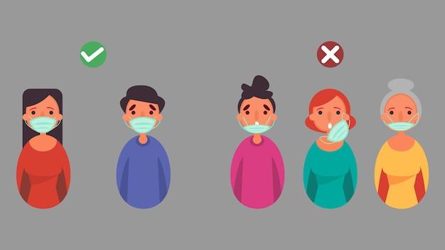 Como usar máscara facial certa e errada, distância reduza a situação de crise de risco de infecção e conceito de doença que ocorre em todo o mundo devido ao coronavírus coronavirus 2019-ncov.