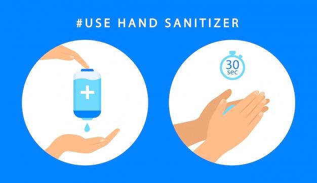 Como usar o desinfetante para as mãos. instruções passo anti-séptico mão. antibacteriano. estilo simples.